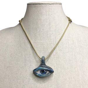 Handmade Glazed Ceramic Eye Pendant Necklace